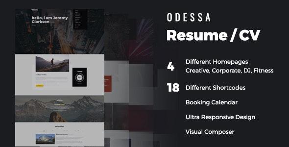 Resume | CV | Odessa Portfolio for Personal Resume, CV and vCard - Personal Blog / Magazine