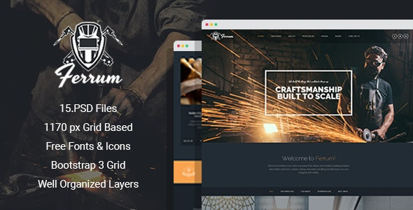 Ferrum - Welding And Metal Works PSD Template - Business Corporate