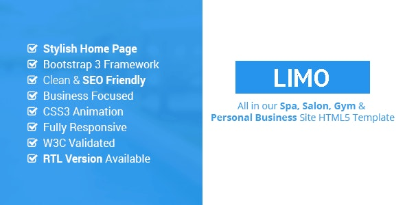 Limo - Spa and Beauty HTML5 Site Template - Health & Beauty Retail