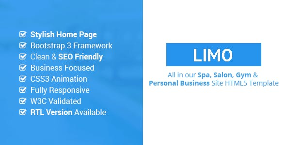 Limo - Spa and Beauty HTML5 Site Template