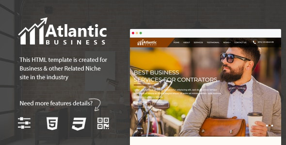 Atlantic - One Page Business HTML5 Bootstrap 4 Template - Business Corporate