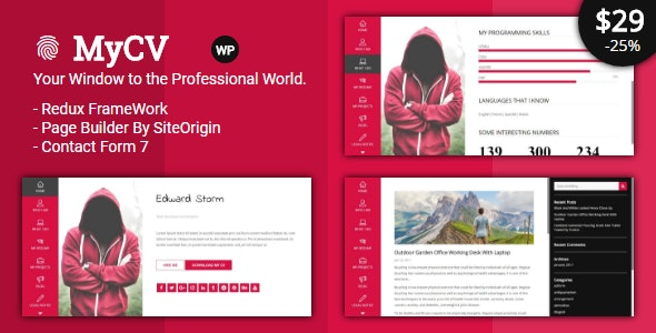 MyCV - Personal Business VCard - WP - Personal Blog / Magazine