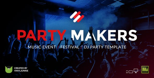 Party Makers - Music Event / Festival / DJ Responsive Muse Template