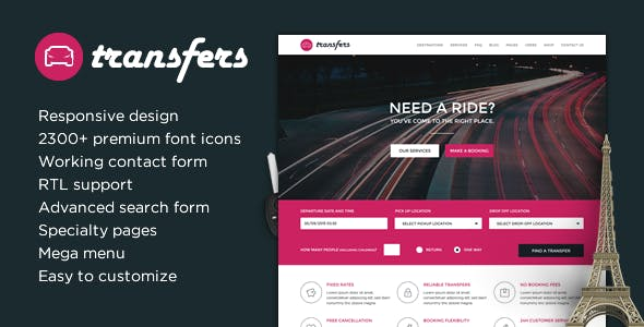 Transfers - Transport and Car Hire HTML Template