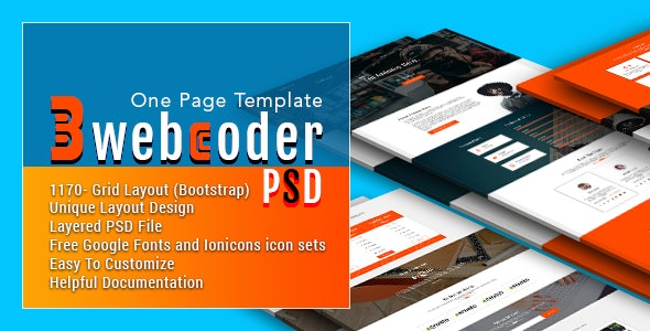 3webcoder - One Page PSD Template - Creative Photoshop
