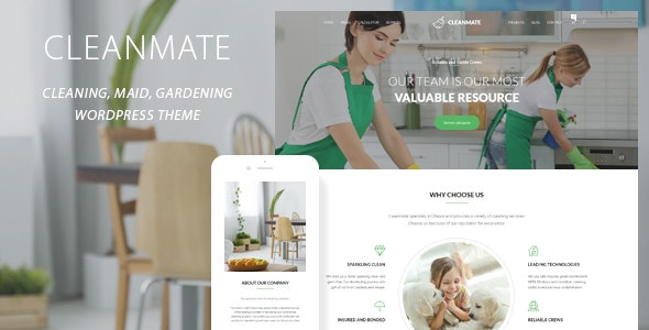CleanMate - Cleaning Company Maid Gardening WordPress Theme - Business Corporate