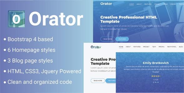 Orator - Corporate, Portfolio and Agency Multipurpose Template - Creative Site Templates