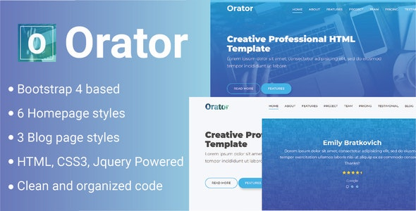 Orator - Corporate, Portfolio and Agency Multipurpose Template - Creative Site Templates