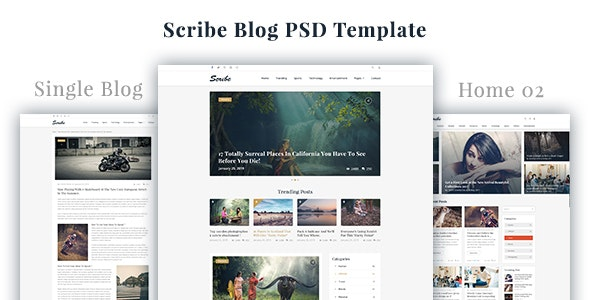 Scribe - Blog PSD Template - Personal Photoshop