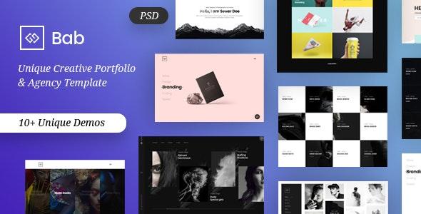 BAB - Creative Minimal Portfolio & Agency PSD Template - Portfolio Creative
