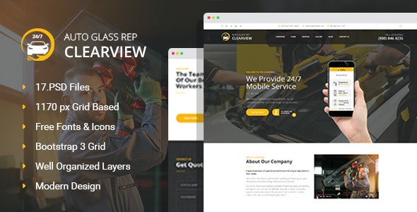 ClearView - Auto Glass Replacement and Window Tinting PSD Template - Business Corporate