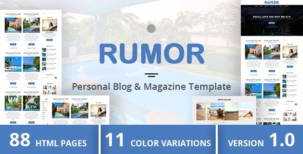 RUMOR - Personal Blog & Magazine Template - Miscellaneous Site Templates