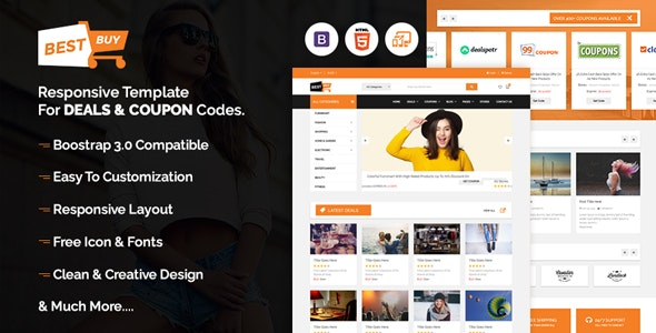 Bestbuy - Bootstrap Responsive template for deals & coupon codes - Shopping Retail