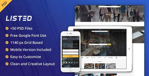 Listed - List Directory PSD Template - Corporate PSD Templates