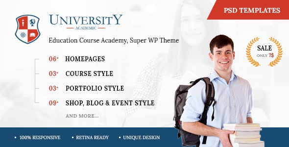 University - Education Course Academy PSD Templates - Corporate Photoshop