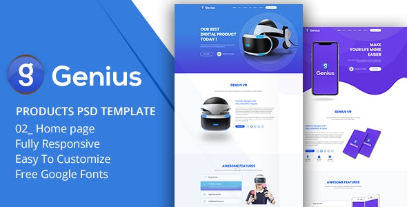 Genius - Products PSD Template - Photoshop UI Templates