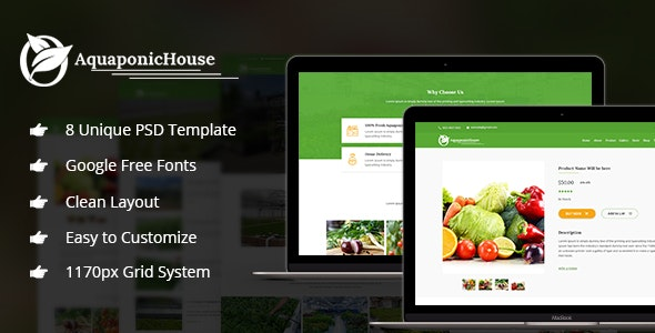 Aquaponic House PSD Template - Food Retail