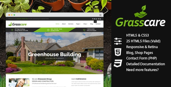 GrassCare - Gardening & Lawn Responsive HTML5 - Business Corporate