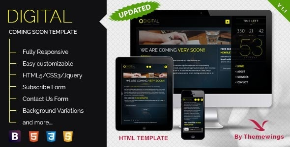 Digital - Coming Soon Template - Under Construction Specialty Pages