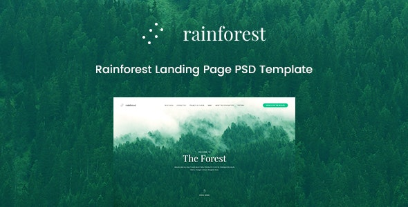 Rainforest Landing Page PSD Template - Environmental Nonprofit
