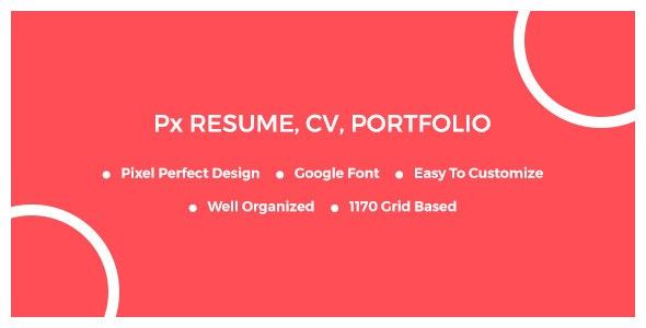 Px Resume PSD Template - Creative Photoshop