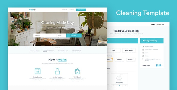 Cleaning Landing Page Template — Cleanly (with Booking Page) - Business Corporate