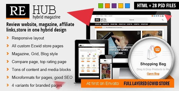 REHub - Hybrid Magazine, Shop, Review HTML Template - Technology Site Templates