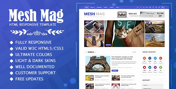Mesh Mag - Magazine HTML Responsive Template - Entertainment Site Templates