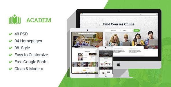 Academ | Multiconcept College & Education PSD Template - Corporate Photoshop