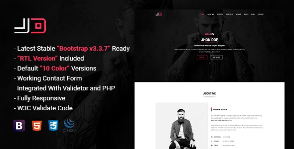 JD | Responsive Personal vCard / CV / Resume Template - Personal Site Templates