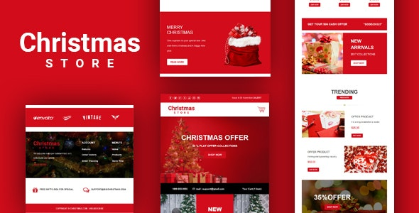 Christmas Store Email Template + Online Builder - Email Templates Marketing