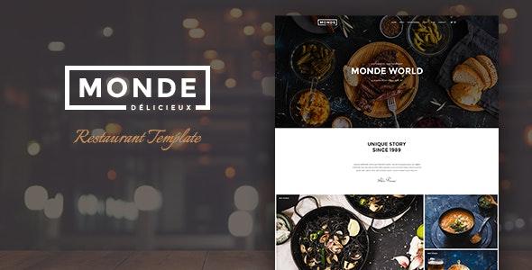 Monde - Restaurant HTML Template - Restaurants & Cafes Entertainment