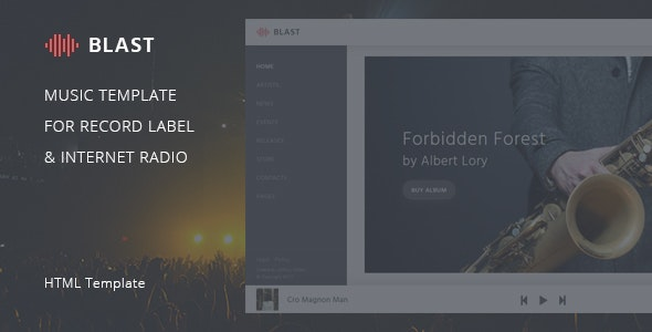 Blast – Music Template for Record Label & Internet Radio by