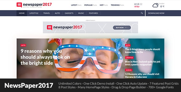 NewsPaper2017 - WordPress Theme for Blog and Magazine - News / Editorial Blog / Magazine