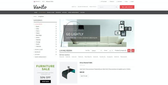 Verito - Furniture Store Responsive OpenCart Theme