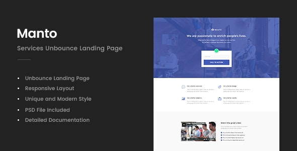 Manto - Services Unbounce Landing Page - Unbounce Landing Pages Marketing