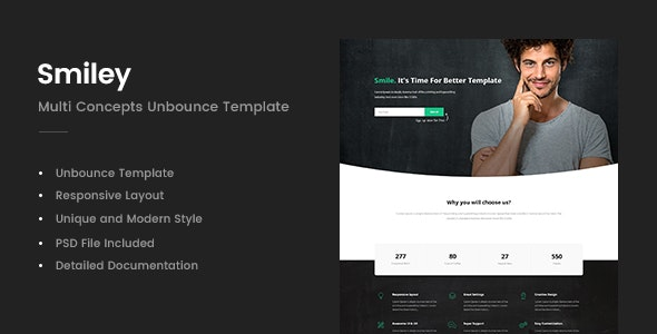 Smiley - Multi Concepts Unbounce Template - Unbounce Landing Pages Marketing
