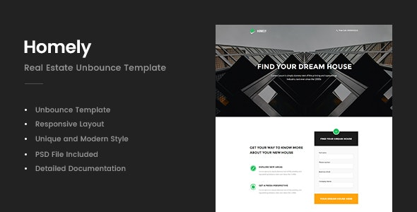 Homely - Real Estate Unbounce Template - Unbounce Landing Pages Marketing