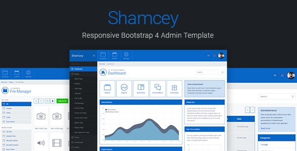 Shamcey Metro Style Bootstrap 4 Admin Template - Admin Templates Site Templates