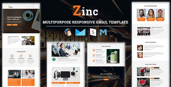 Zinc - Multipurpose Responsive Email Template - Newsletters Email Templates