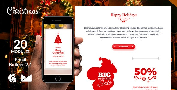 Merry X-Mas Email Template + Online Emailbuilder 2.1 - Newsletters Email Templates
