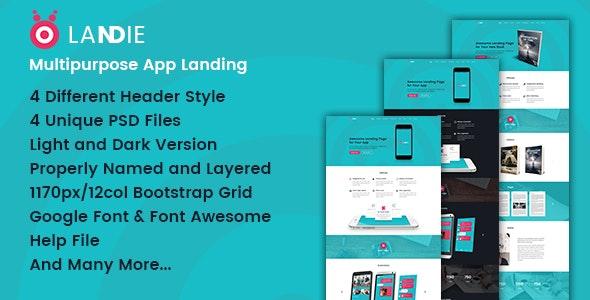 Landie Multipurpose App Landing PSD Template - Marketing Corporate