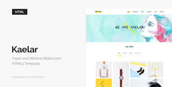 Kaelar - Watercolor HTML5 Template - Creative Site Templates