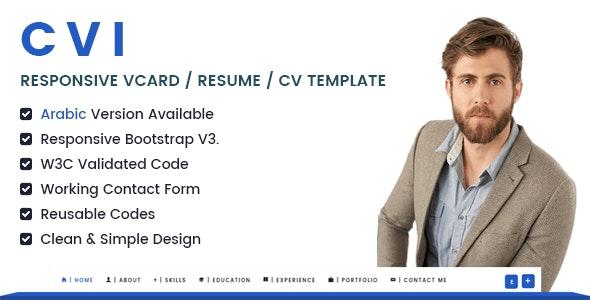 Cvi | Responsive vCard / Resume / CV Template - Virtual Business Card Personal