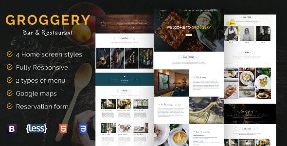 Groggery - Responsive Bar Restaurant & Cafe Template - Restaurants & Cafes Entertainment