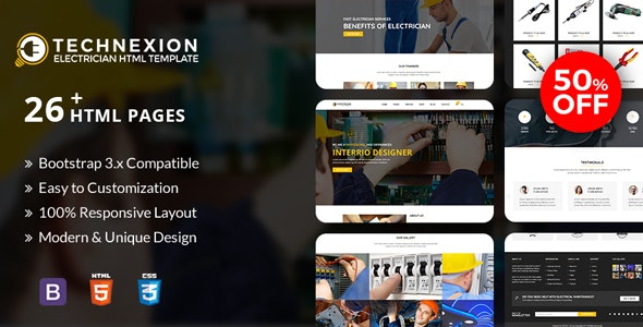 Technexion - Responsive html5 template for Electrical and Electricians - Business Corporate