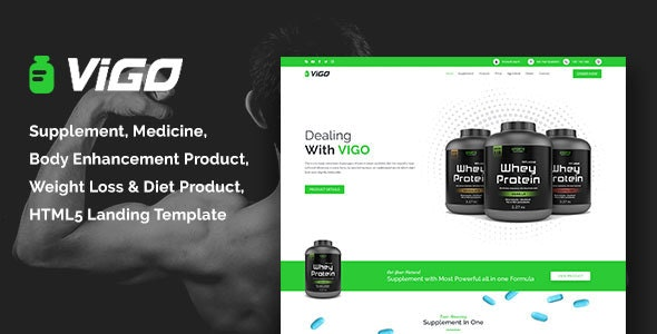 VIGO-Health Supplement Landing Page HTML Template - Health & Beauty Retail