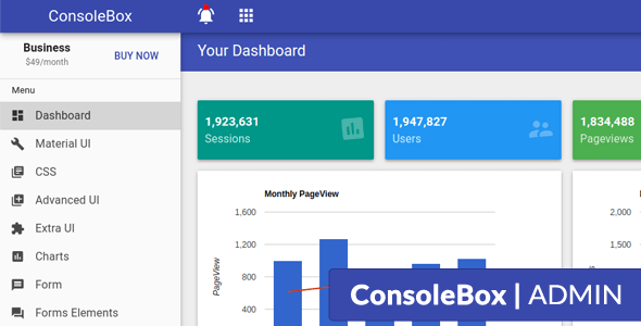 ConsoleBox - Angular Js Material Admin Template - Admin Templates Site Templates