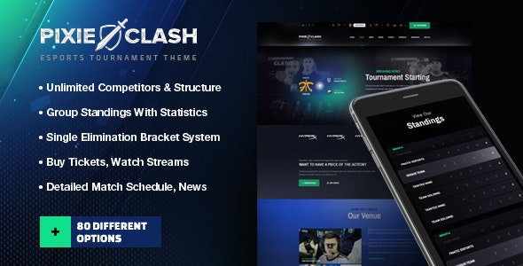 PixieClash | eSports gaming theme for tournaments & competitions - Entertainment WordPress