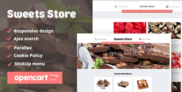 Sweets Store - Responsive OpenCart Theme - OpenCart eCommerce